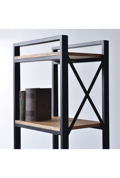 Dekmanya Metal Ayaklı Ahşap Boxes Kitaplık