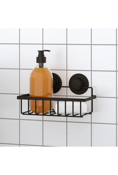Tekno-tel Vakumlu Tek Katlı Banyo Rafı Mat Siyah DM241