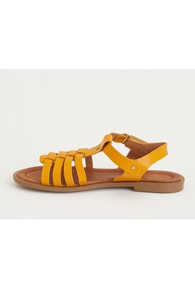 Defacto Kız Çocuk Deri Görünümlü Sandalet
