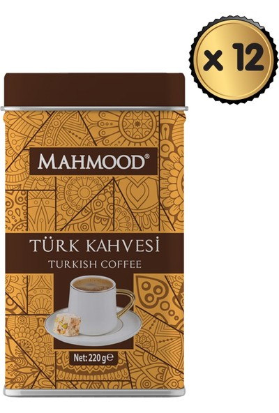 Mahmood Coffee Mahmood Türk Kahvesi Teneke 220 gr x 12 Paket -1 Koli