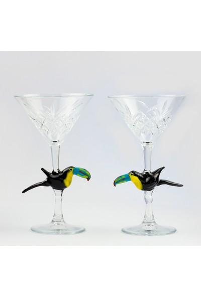 Adamodart Tukan Figürlü 2'li Özel Martini Kadeh