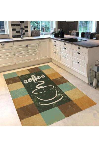 Evpanya Retro Coffee Fincanlı Eskitme Desenli Mutfak Halısı 80 x 150 cm