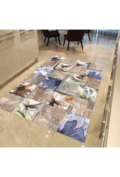 Evpanya Çiçek Mozaik Patchwork Desenli Mutfak Halısı 80 x 150 cm
