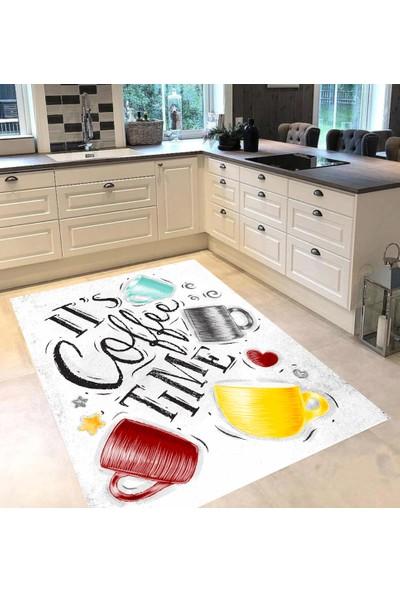 Evpanya Renkli Fincanlı Desenli Mutfak Halısı 80 x 150 cm