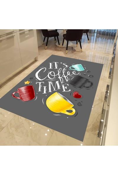 Evpanya Gri Zemin Renkli Fincanlar Desenli Mutfak Halısı 80 x 150 cm