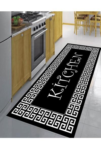 Evpanya Kilit Çerçeveli Kitchen Desenli Halı 80 x 150 cm