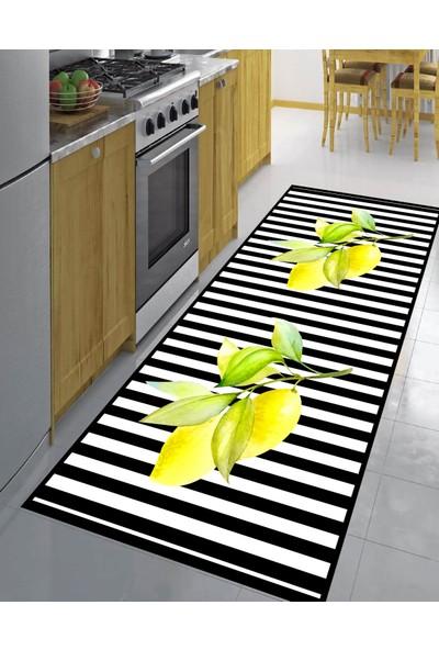 Evpanya Limonlu Dal Desenli Mutfak Halısı 80 x 150 cm