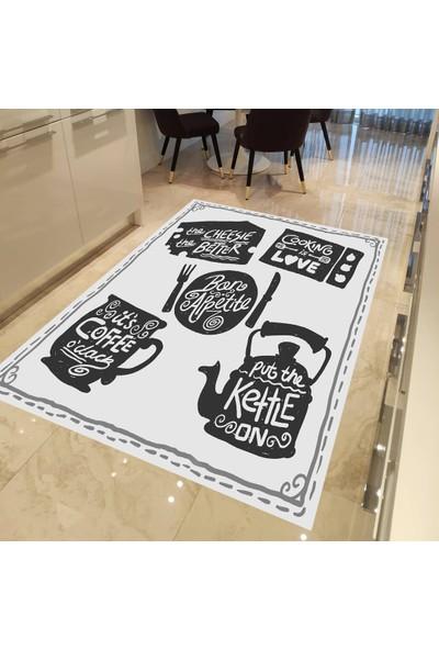 Evpanya Yazılı Mutfak Gereçleri Desenli Mutfak Halısı 80 x 150 cm
