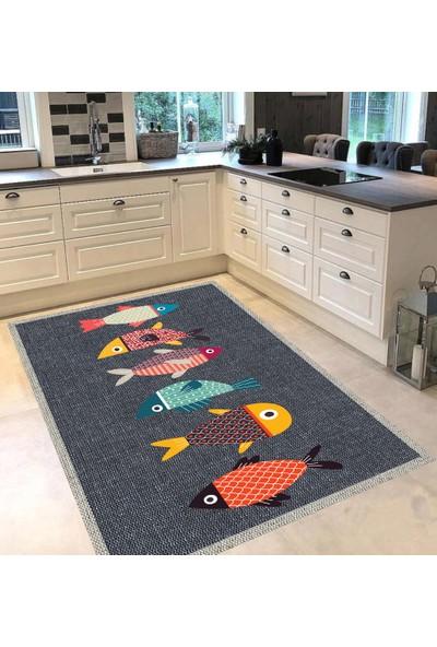 Evpanya Gri Hasır Çerçeveli Renkli Balıklı Desenli Mutfak Halısı 80 x 150 cm