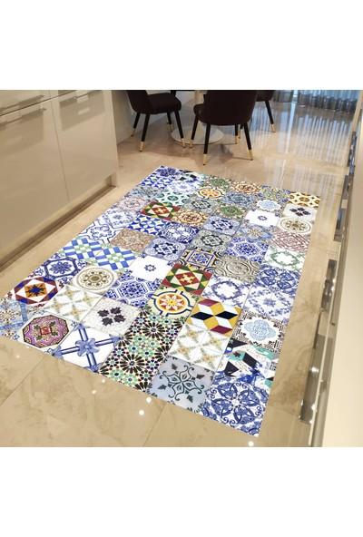 Evpanya Mavi Çini Patcwork Desenli Mutfak Halısı 80 x 150 cm