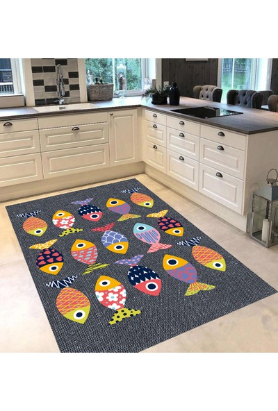 Evpanya Gri Hasır Simetrik Renkli Balık Desenli Mutfak Halısı 80 x 150 cm