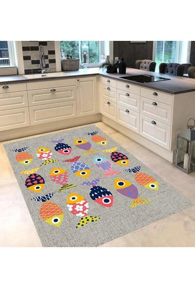 Evpanya Krem Hasır Simetrik Renkli Balık Desenli Mutfak Halısı 80 x 150 cm