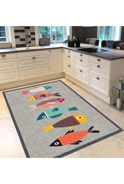 Evpanya Krem Hasır Çerçeveli Renkli Balıklı Desenli Mutfak Halısı 80 x 150 cm