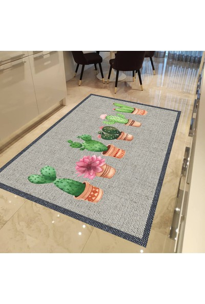 Evpanya Krem Hasır Çerçeveli Kaktüs Desenli Mutfak Halısı 80 x 150 cm
