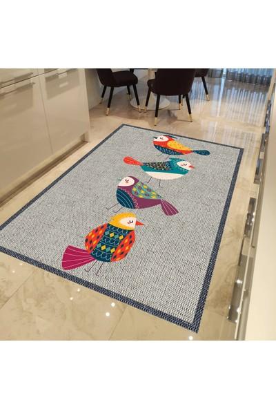 Evpanya Krem Hasır Renki Kuş Desenli Mutfak Halısı 80 x 150 cm