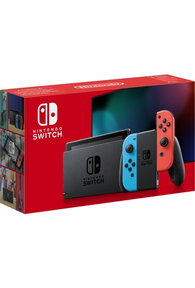 Nintendo Switch Konsol Neon Red Blue Joy / Con - Yeni V2 Model