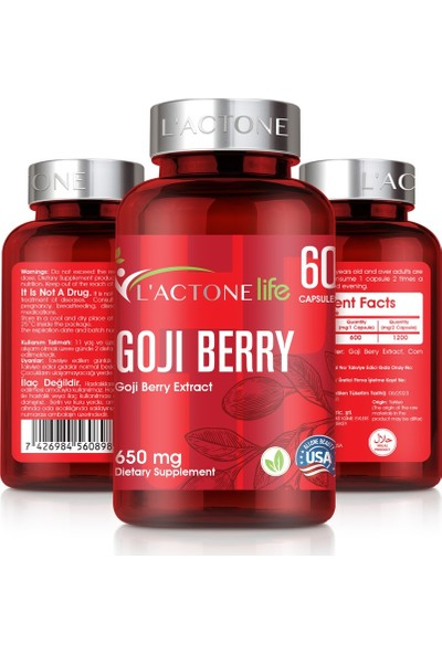 L'actone Goji Berry 650 mg / 60 Kapsül - 1 Kutu