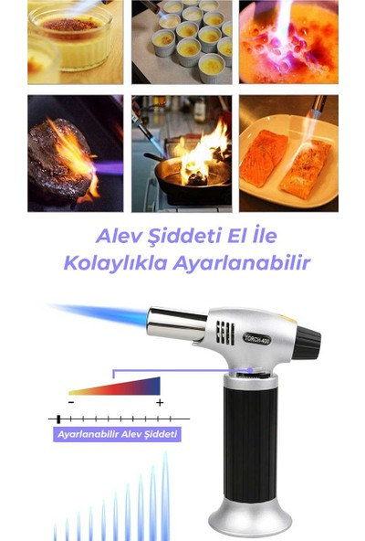 Torch Pürmüz Çakmak Doldurulabilir Profesyonel Metal Gövde
