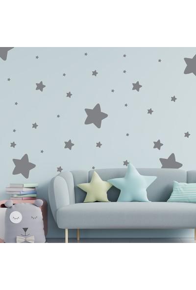 Happypotam Gri Yıldız Yağmuru Çocuk ve Bebek Odası Sticker