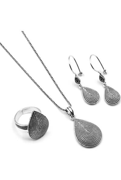 Akyüz Gümüş Damla Modeli Telkari Gümüş Set 140
