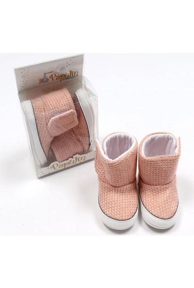 Bebelive Kız Bebek Lüx Örme Triko Ayakkabı Somon