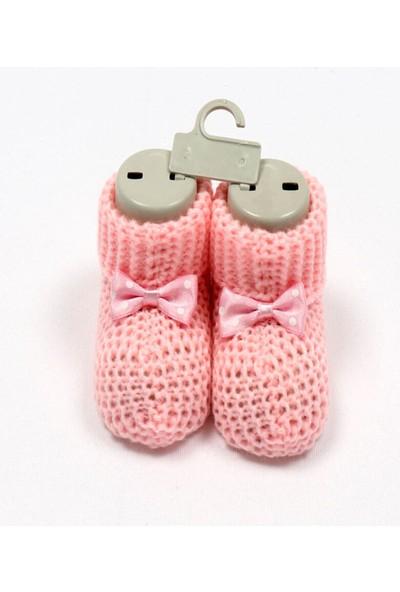 Bebelive Kız Bebek Fiyonklu Pembe Triko Patik 0-6 Ay