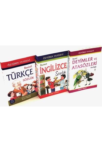 Resimli Sözlük Seti - 3'lü ( Türkçe , Ingilizce , Deyimler ve Atasözleri Sözlüğü)