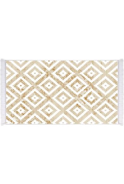 EXCLUSIVE Toprak Dijital Halı Saçaklı Rosie Geometrik Kahverengi Beyaz 80 x 120 cm