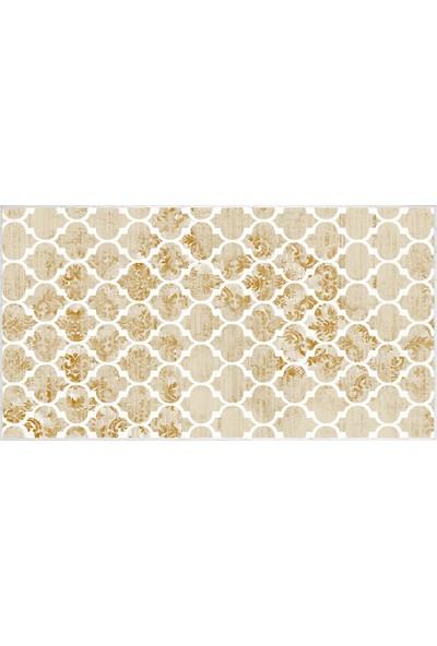 EXCLUSIVE Toprak Dijital Halı Robin Geometrik Kahverengi Beyaz 80 x 120 cm
