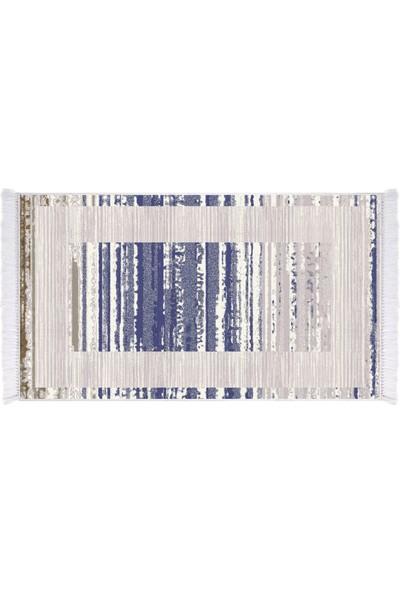 EXCLUSIVE Toprak Dijital Halı Saçaklı Ruby Modern Gri Mavi 80 x 120 cm