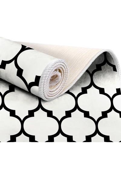 EXCLUSIVE Saray Dijital Halı Saçaklı Tammy Geometrik Beyaz Siyah 80 x 120 cm