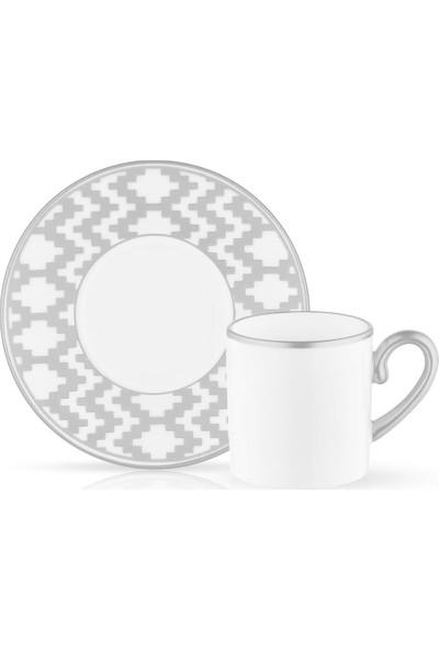 Koleksiyon Eva Kilim Platin 6 Kişilik Türk Kahvesi Fincanı