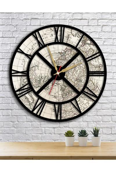 Homecept Dünya Haritası Temalı Roma Rakamlı Duvar Saati