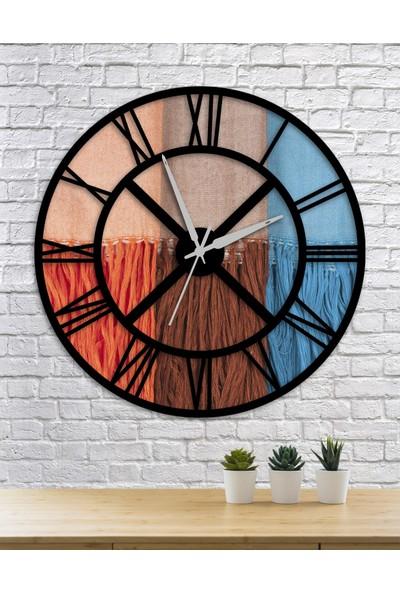 Homecept Renkli Ipler Temalı 48 cm Duvar Saati