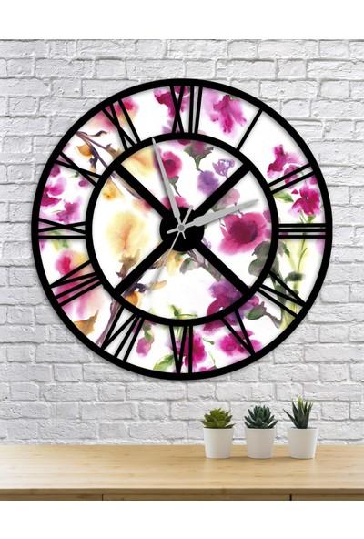 Homecept Çiçekler ve Yapraklar 48 cm Duvar Saati