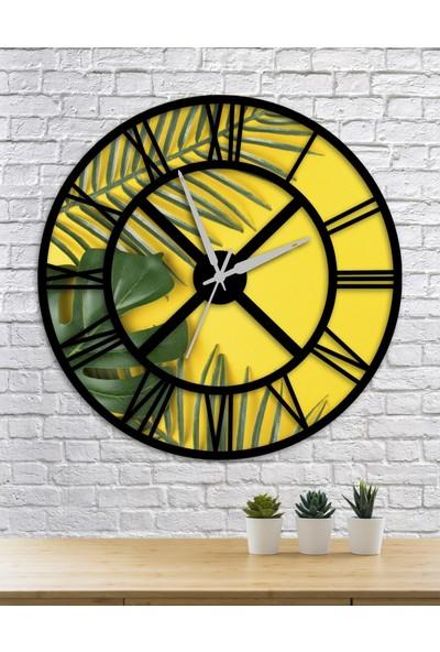 Homecept Tropikal Yapraklar Temalı Sarı 48 cm Duvar Saati