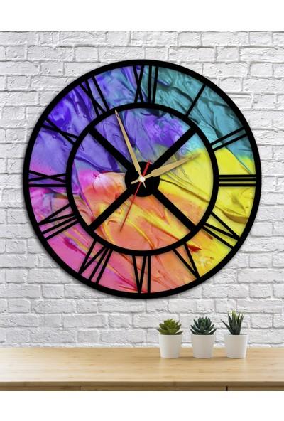 Homecept Renkli Boyalar Temalı 48 cm Duvar Saati