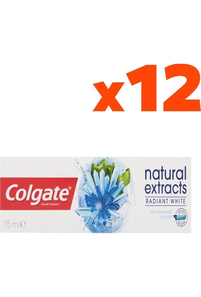 Colgate Natural Extracts Deniz Yosunu Tuzu Diş Macunu 75 ml 12'li Set