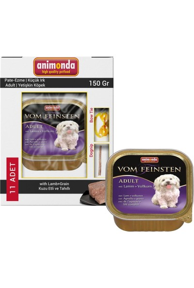 Animonda Kuzulu ve Tahıllı Ezme Köpek Konservesi 11x150 gr ve Dognip-Köpek Papyonu