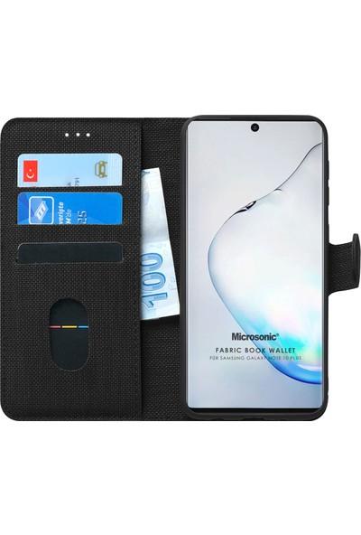 Microsonic Samsung Galaxy Note 10 Plus Kılıf Fabric Book Wallet Siyah