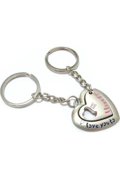 Idea Kalp Içinde Kalpli Döküm Metal Çiftli Anahtarlık