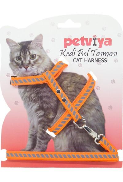 Petviya Reflektörlü Yansıtıcılı ve Çizgi Şeritli Kedi Göğüs Bel Tasması Turuncu