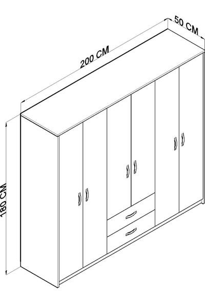 Hepsi Home Gm315 Cesar 6 Kapı 2 Çekmeceli Aynalı Gardırop