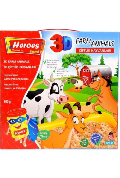 Heroes KUM-033 3D Kalıplı Çiftlik Hayvanları 500 gr Kumlu Set