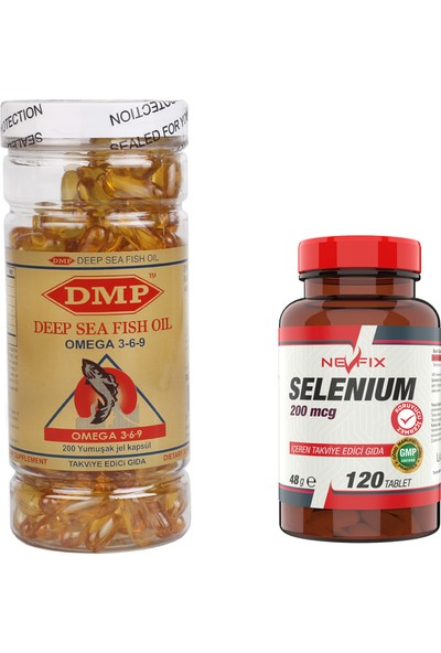 Omega 3 6 9 1000 Mg 200 Kapsül Selenyum 200 Mcg 120 Tablet