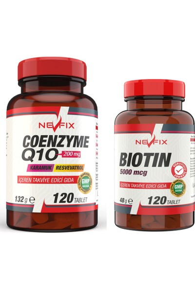 Nevfix Coenzyme 200 Mg 120 Tablet Biotin 5000 Mcg 120 Tablet