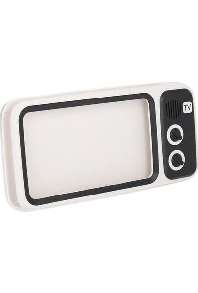 MF Product Acoustic 0517 Retro Mini Tv Kablosuz Bluetooth Hoparlör Beyaz