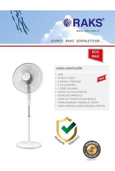 Raks Eco Max 16 Inç 3 Kanatlı Devrilme Emniyetli Ayaklı Vantilatör 50 W Beyaz