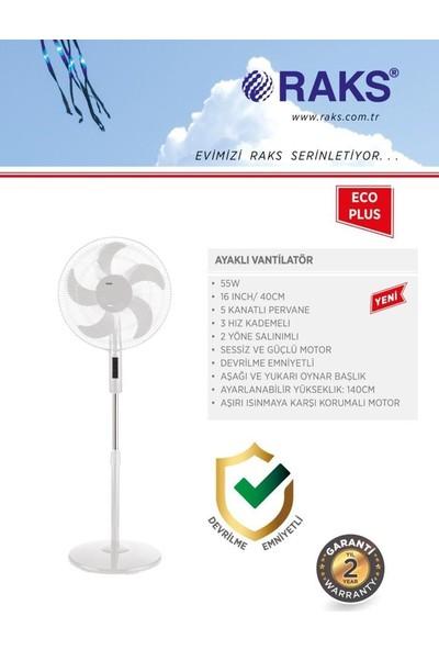 Raks Eco Plus 16 Inç 5 Kanatlı 2 Yöne Salınımlı Ayaklı Vantilatör 55 Watt Beyaz