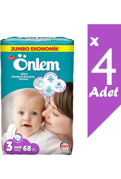 Önlem Jumbo Ekonomik Paket Bebek Bezi 3 Beden Midi 4-9 kg 272 Li